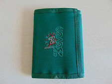 Vintage 80 90 SEVEN Portafoglio Portamonete Purse Wallet Money Bag Verde Green