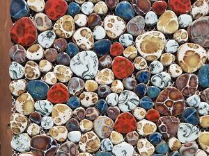 multi coloured round ceramic mosaic indoor or outdoor tiles pebble