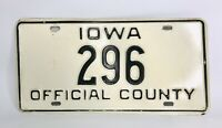 Vintage Iowa License Plate Official County Collector Black on White #296