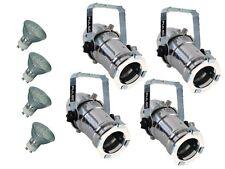 4 X 16 Cromo Pulido Spotlight Spot Par Retro De Metal + Lámpara LED Blanco Cálido