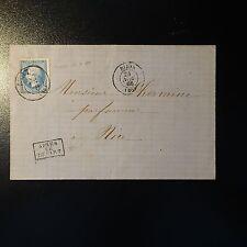 FRANCE NAPOLÉON N°22 LETTRE COVER BUREAU PASSE N°1307 SUR TIMBRE INDICE 17