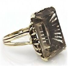Grand 9ct Yellow Gold Smoky Quartz Ring
