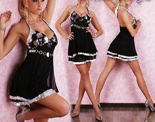 SeXY MiSS Damen Neck Mini Kleid Chiffon Pailletten Dress schwarz silber 34/36/38