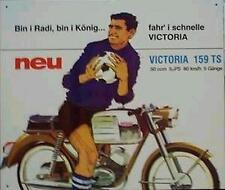 Älteres Blechschild Oldtimer Moped Victoria 159TS Werbung Reklame gebraucht used