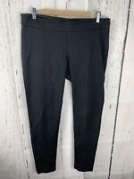Ann Taylor Size 8 Black Straight Leg Stretch Knit Side Zip Crop Dress Pants
