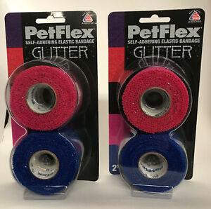 """GLITTER BANDAGES PetFlex Cohesive Bandage - 2 x 2 x 5cm (2"""") (4 bandages)"""