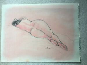 Jennie Lenzi original vintage Life Drawing  Female nude