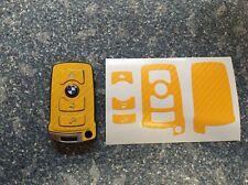 Carbon Gelb Schlüssel Folie BMW Key E67 5er E67  6er 7er E65 E66 E M 3 Tasten