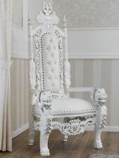 Trono Lion stile Barocco Moderno poltrona reale bianco laccato e foglia argento