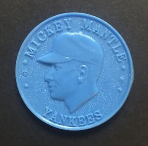 1960 Armour Baseball Coin Token Pin Mickey Mantle NY Yankees / Very Fine (Blue)