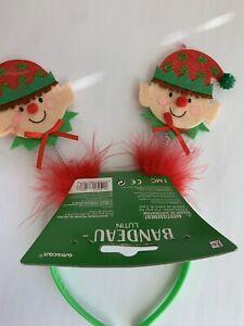 Elf Headband Christmas Accessory Holiday Elves Red Green Stocking Stuffer