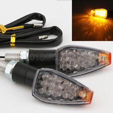2 Pcs Universal Motorcycle Black Mini Turn Signals Blinker Indicator Clear Lens