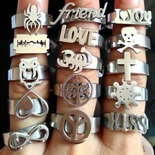 36pcs Top design mix SKULL LOVE FRIEND Stainless Steel Rings Laser cut Jewelry