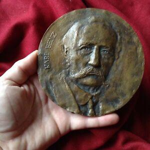 Antique XL Mercedes Carl Benz German Car Invent Formula Race Bronze Medal Plaque
