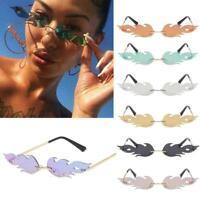 Eyewear Streetwear Fire Flame Wave Sun Glasses Rimless Fashion Sunglasses