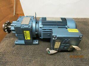 SEW-EURODRIVE R27DT80N4 DFT80NA GEAR MOTOR 1HP 8.16:1 RATIO 1HP 230/460V 3PH