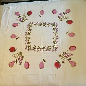 """Vintage Tablecloth Fruit Pears Apples Linen Pink Red Green Off White 48"""" Square"""