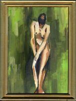 """Russischer Realist Expressionist Öl Pappe """"Akt"""" 24x18 cm Rahmen 28x22 cm"""