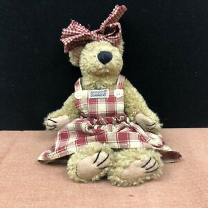 "Vintage 9"" Boyds Bears Bearwear Plaid Dress Push Bear"