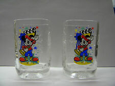 Disney Collectible Glasses Lot of 2 McDonald's Clear Glass 2000 Mickey Mouse