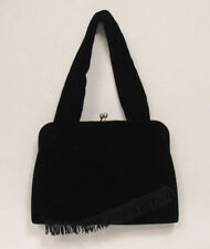 VINTAGE 1950s 60s BOBBIE JEROME BLACK VELVET EVENING BAG HANDBAG CRYSTAL ACCENTS