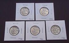 1978 1979 1980 1981 1982 Australia Uncirculated Ten 10 Cent Coins - Elizabeth II