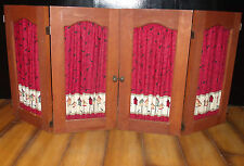 "x2 1950s-Style Wooden Interior Shutters-Fabric Curtains-18X17""-Country/Kitchen"