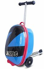 """Flyte Midi 18"""" Kids Pull Along Compact Travel Roller Luggage Kick Scooter Blue"""