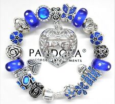 Authentic Pandora Bracelet With Silver Love & Crystal Blue European Charms..NIB