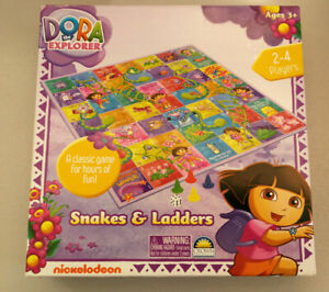 Dora the Explorer Snakes & Ladders Board Game Nickelodeon Ages 3+ Players 2-4