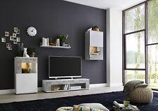 Wohnwand Schrankwand Anbauwand Wohnzimmerschrank Schrank MIAMI weiß matt / Beton
