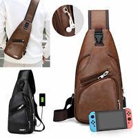 Men's Shoulder Bag Sling Chest Pack w/ USB Charging Sports Crossbody Handbag Hot