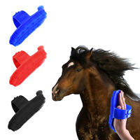 Plastic Curry Comb Adjustable Strap Horse Pony Care Grooming Scraper Brush DD