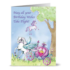 24 Note Cards - Birthday Pegasus and Carriage - Plum Purple Envs