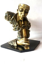 Sculpture Violin Player Man Copper Color Bust Abstract Metallic Music Decor