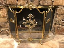 Antique Vintage French Louis Xiv Gilt Bronze Brass 3 Panel Footed Firescreen