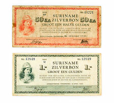 Set of 2 diff. Surinam 50 cents 1940 vg & 1 gulden 1942 nice f