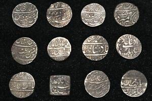12 Ancient Mughal Empire Silver Rupee coins Ca. 17th Century Muhammad Shah