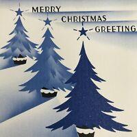 Vintage Early Mid Century Christmas Greeting Card Blue Trees Stars