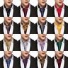 USA Mens Cravat Ascot Hanky Cufflinks Set Paisley Black Blue Red Silk Wedding