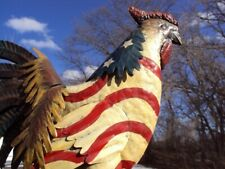 Old Antique Rare Metal Rooster Folk Art Patriotic Painted Weathervane Sign Nice