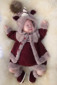 PRINTED PAPER KNITTING PATTERN TO MAKE UNA AND CORNELIAN 3 SIZES FOR BABY/ DOLLS