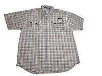 🐟Columbia PFG Super Bahama Short Sleeve Button Shirt Colorful Plaid, Sz S/P
