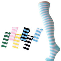 Fashion Women Cotton Socks Thigh High Striped Over the Knee Slim Leg StockingsSY