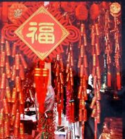 CHINESE HUGE 115cm RED GOLD FIRE CRACKERS NEW YEAR WEDDING XMAS PARTY DECO ONLY!