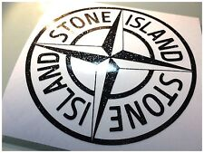 stone island  self adhesive vinyl decal/sticker IN black chrome fleck sparkle