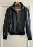 Dolce & Gabbana Wool-Trimmed Leather Jacket / Black