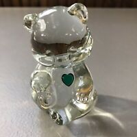 Fenton Solid Glass Paperweight Bear Art Glass Sitting Bear Clear Has Blemishes