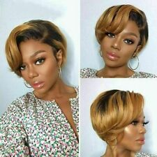 Short Pixie Cut Wig  Human Hair Wigs Straight Bob Wigs With Bangs Black & Ombre