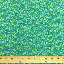 """Ixia Blue Print Fabric Cotton Polyester Broadcloth By The Yard 60"""""""
